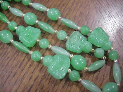 "Early Vintage GREEN Plastic BUDDHA Chain Necklace 50"" Long Art Deco Retro Asian"