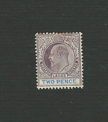 LAGOS 1906. EDWARD VII, 2d PURPLE & BLUE STAMP, CHALKY PAPER. SG. 56a. MH