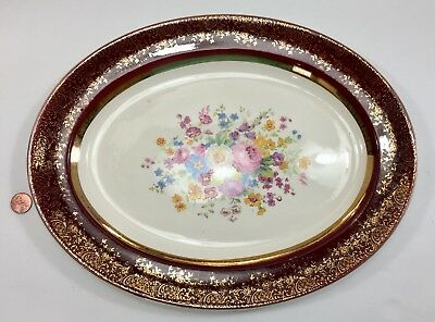 "CENTURY by SALEM  13.5"" Oval Serving Dish Tray ~ 25 Karat Encrusted Gold Floral"
