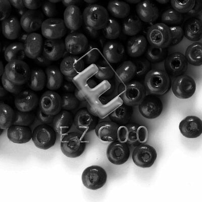 30g(800pcs About) Black Round Wood Beads Spacer Jewelry Making 3x4mm HCWB0009