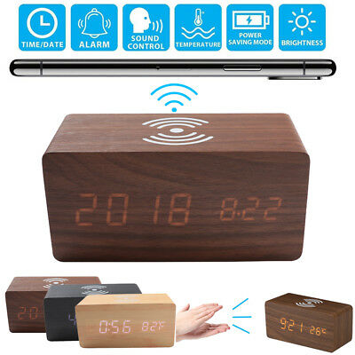 Wooden Digital LED Desk Alarm Clock Thermometer W/ Qi Wireless Charger