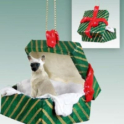 SIAMESE CAT Christmas GREEN GIFT BOX Ornament HAND PAINTED resin FIGURINE kitty