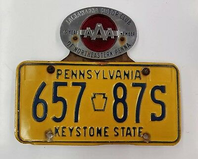 Vintage Aaa Lackawanna Motor Club 25 Year Member Plate Topper Reflective W/plate