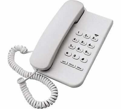 White Corded Desk Telephone Wall Mountable Phone Landline