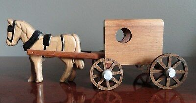 M - M  Hand Made Wooden Miniature Amish Horse & Buggy Made Lancaster PA USA