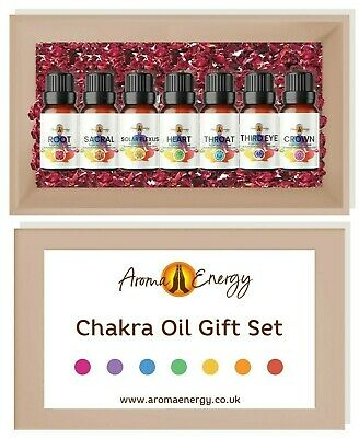 Chakra Oil Gift Set Pack - Essential Oils With Crystal Chips - Set Of 7
