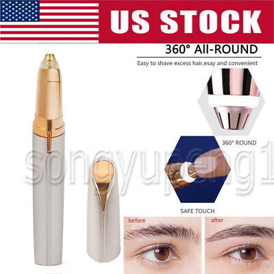 Women's Brows Painless Trimmer Electric Eyebrow Facial Hair Remover LED Light US