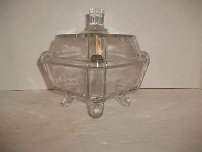 Eapg Adams Square Panes Post Glass Compote Candy Dish Jar Compote Circa 1882