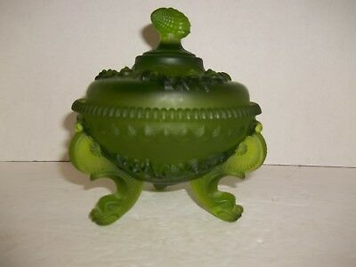 Vintage Westmoreland Argonaut Green Satin Glass Shell & Dolphin Covered Compote
