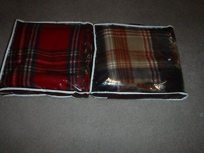 """2 Vintage Faribo Plaid Wool 50""""x 60"""" Lap / Stadium Blankets Fringed With Cases"""