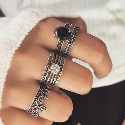 1 Set Women Bohemian Vintage Silver Stack Rings Above Knuckle Blue Rings W