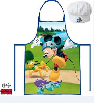 Childrens Kids Mickey Mouse Cook Baking Gift Chef Set Includes Apron And Hat