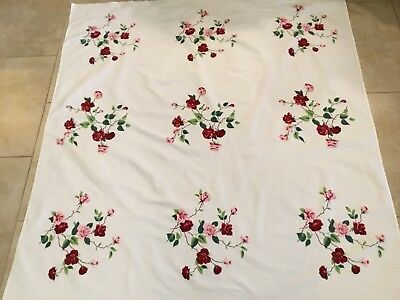 Vintage Tablecloth, Printed Design, Flowers, Leaves, Off White, Pink, Cranberry