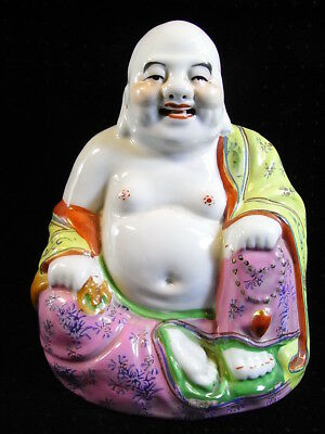 ANCIEN GRAND BOUDDHA ASSIS STATUE PORCELAINE ASIATIQUE CHINE CHINA BUDDHA signé