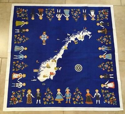 Vintage Souvenir Tablecloth, Cotton, Norway, Scandinavian Design, Map, Vivid