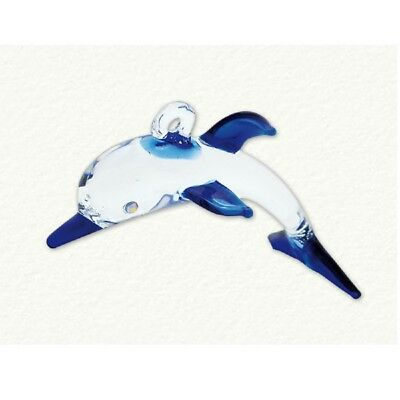 Blue and Clear Dolphin Egyptian Glass Christmas Tree Ornament Made in Egypt New