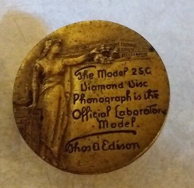 Edison Disc Phonograph PLATE Plaque Tag Label Pin Backer 25C Record Player