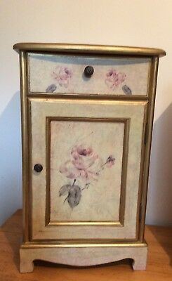 Vintage French Style Crackle Glaze Painted Bedside Table Cabinet (2285)