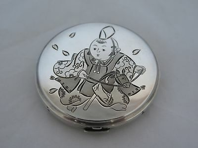 Vintage Japan .950 Silver Hand Chased Compact