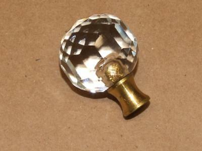 Vintage 60s Brass & Heavy Cut Glass or Crystal Ball Screw Lamp Finial Top 1 1/8""