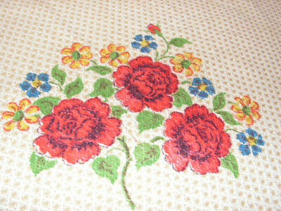 Vintage Woven Tablecloth Red Rose Print Tablecloth Blanket Tablecloth Square