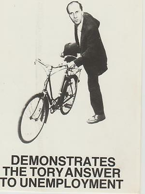 Political MP Norman Tebbit & Bicycle Demonstrates Tory Answer To Unemployment