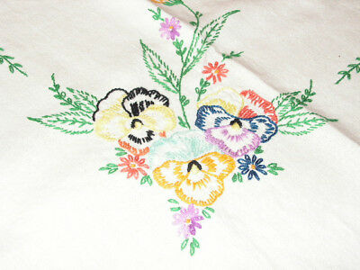 Vintage Embroidered Pansy Tablecloth Pansy Flowers Linen Tablecloth Small Square
