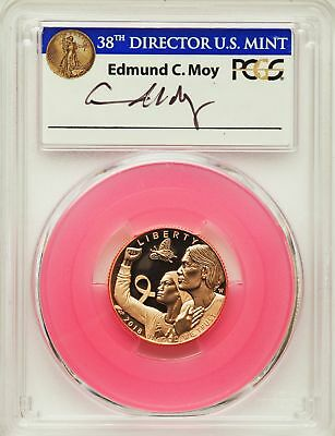 2018-W $5 Pink Gold Breast Cancer Awareness, First Day of Issue, PCGS PR 70 DCAM