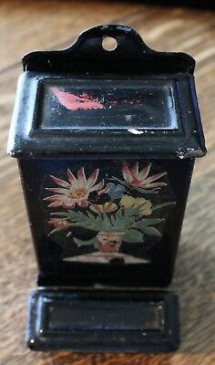 "Vintage Black With Floral Design Wall Mount Match Safe Tin Metal 6"" Tall"