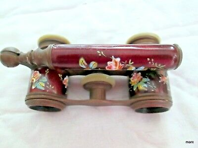 Antique French Victorian Opera Glasses Enamel Roses Gorgeous Floral