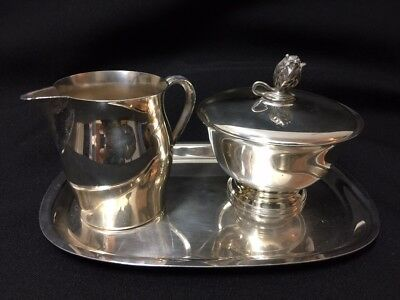 Vintage Paul Revere Reproductions Silverplate Creamer Sugar Tray Set