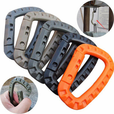 NEW Plastic Carabiner D-Ring Key Chain Clip Hook Outdoor Camping Buckle Snap