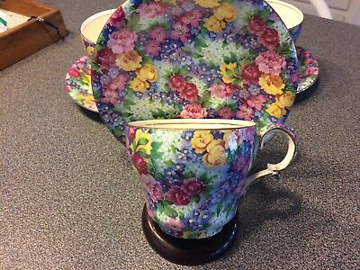 """Royal Winton Grimwades Chintz """"julia"""" Cup And Saucers Set Of 3"""
