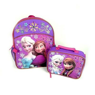 "NEW Disney FROZEN 16"" BACKPACK COMBO Lunch Box Bag Set Anna Elsa Pink"