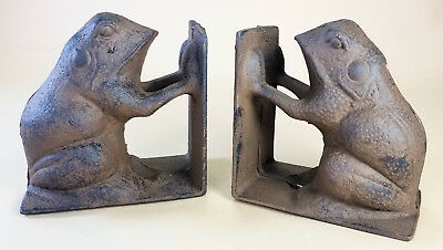 Cast Iron Frog Bookends Book Ends shelf holders library vintage antique style