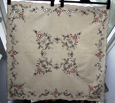 Small Vintage Embroidered Tablecloth In Good Condition, Ecru Colour