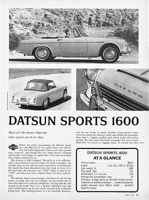1967 Datsun Sports 1600 Convertible Road Test Article & Technical Data