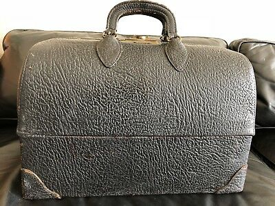 Antique Vintage Doctor Medical Cowhide Leather Travel Bag Emdee by Schell