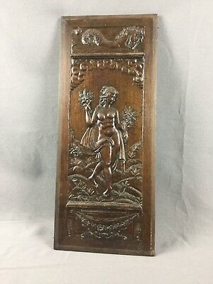 Large French Antique Carved Wooden Panel Henri 2 Xix Th C.