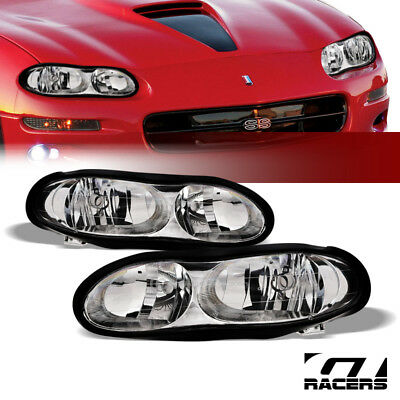 For 1998-2002 Chevy Camaro Oe Style Chrome Clear Housing Headlights Lamp Pair Nb