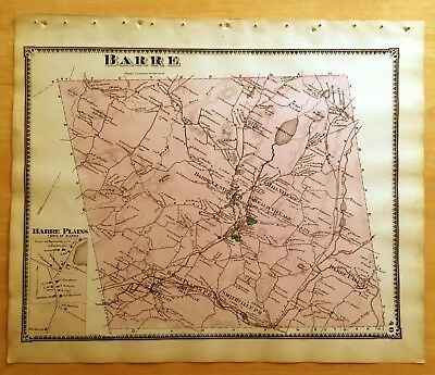 Original 1870 Map BARRE MA Massachusetts BEERS Antique