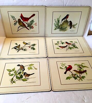 """Pimpernel Cork Backed Bird Placemats Set of Six 12"""" X 9"""""""