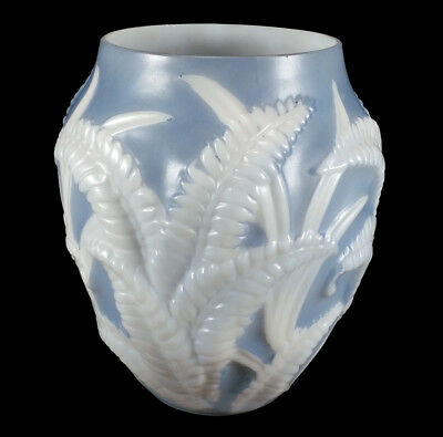 Nice Vintage Phoenix / Consolidated Art Deco Glass Vase Blue White Ferns Pattern