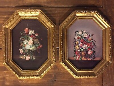 "Pair of Vintage Italian Wood Gesso Gold Gilt Framed Floral Pictures 7""x9"""