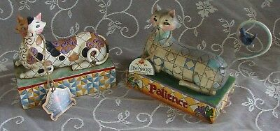 Two (2) Jim Shore Heartwood Creek Cat Figurines ~ Patience & Calliope