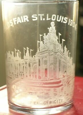 1904 ST LOUIS WORLD'S FAIR ETCHED GLASS TUMBLER Palace of Electricity