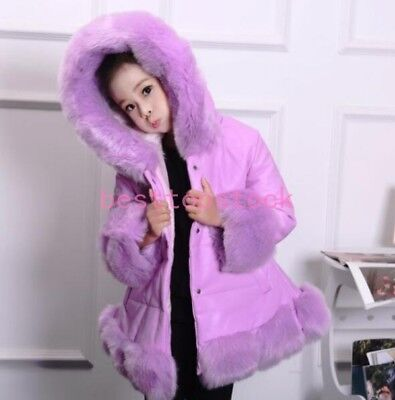 Kids Girls Children Luxury Fur hooded Thicken Coat Loose Jacket Parka pu leather