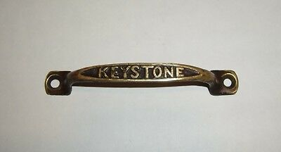KEYSTONE antique brass handle door drawer old vintage hardware furniture salvage