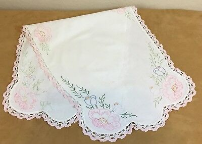 Vintage Rectangle Dresser Scarf, Table Runner, Cotton, Flower Embroidery, Lace
