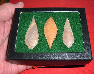 "(3) Choice 2"" Sahara Neolithic Blades, Points,  W/CASE, Prehistoric Arrowheads"